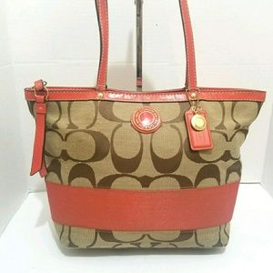 Coach Signature Stripe Beige & Orange Tote